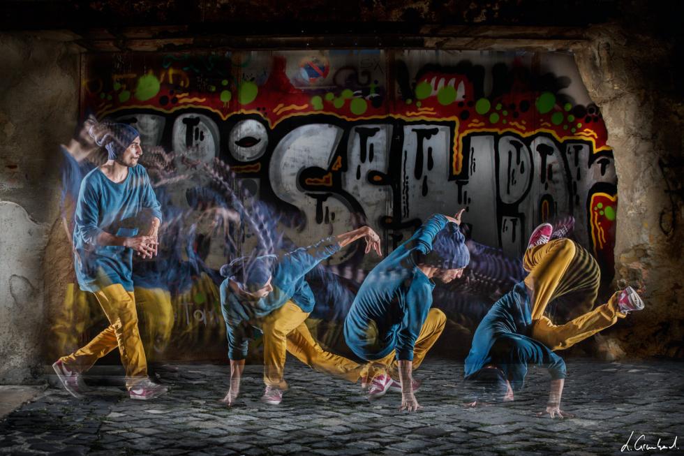 Danse hip hop avec le procédé Motion Sculpture