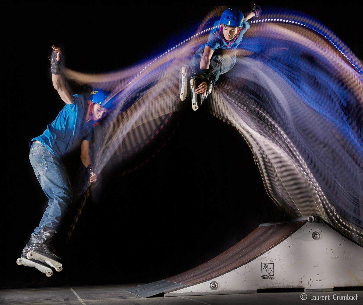 Photo de Roller en mouvement avec l'association Cergy City Ride. Photographie avec procédé Motion Sculpture.